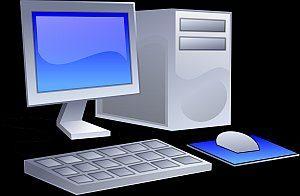 Grafik: ein moderner PC Arbeitsplatz mit Maus