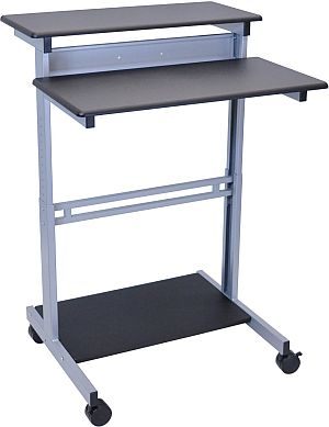 Mobiler Computertisch mit Rollen und Bremsen