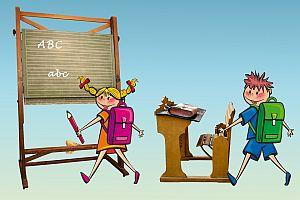 Artikelbild: Schüler mit Tornister in der Schule
