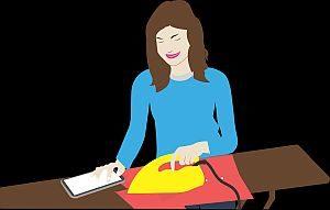Grafik: Frau bügelt Wäsche