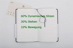 Grafik: Prozentwerte für Sitzen, Stehen und Bewegung bei der Arbeit