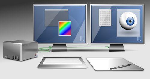 Abbildung: zwei Monitore auf gleicher Höhe